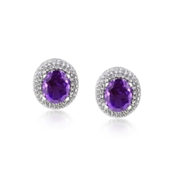 Domed Amethyst & Diamond Cluster Earrings