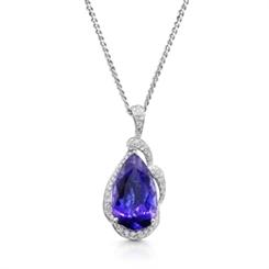 Tanzanite & Diamond Pear Shape Drop Pendant  5.64ct