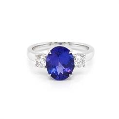 Three Stone Tanzanite & Diamond Dress Ring 2.60ct