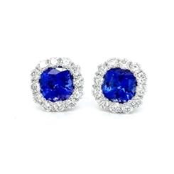 Tanzanite & Diamond Cluster Stud Earrings 3.46ct