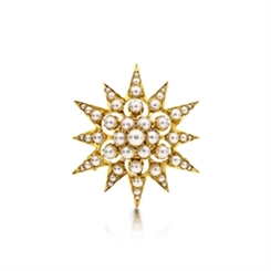 Victorian Graduated Pearl Star Brooch