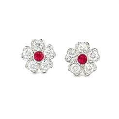 Floral Ruby & Diamond Stud Earrings 0.65ct