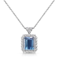 Aquamarine Octagon & Diamond Cluster Drop Pendant 14.80ct