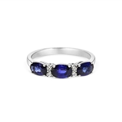 Sapphire Oval & Diamond Half Eternity Ring 1.64ct