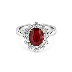 Ruby & Diamond Cut Claw Set Cluster Ring 2.30ct