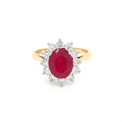 Ruby & Brilliant Cut Diamond Cluster Engagement Ring 2.39ct