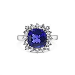 Tanzanite Cushion Cut & Diamond Dress Ring 4.92ct