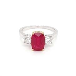 Ruby & Diamond Three Stone Engagement Ring 3.02ct