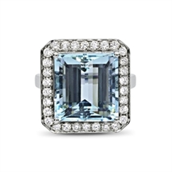 Aqua & Diamond Grain Set Cluster Dress Ring 13.61ct