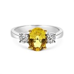 Yellow Sapphire & Diamond Three Stone Engagement Ring 2.26ct