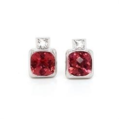 Pink Tourmaline & Diamond Stud Earrings 5.07ct