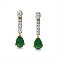 Emerald Pear Shape & Diamond Drop Earrings 2.62ct