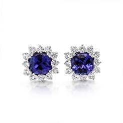 Cushion Cut Tanzanite & Diamond Claw Set Cluster Stud Earrings 3.14ct