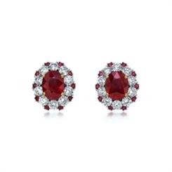 Oval & Diamond Double Cluster Stud Earrings 4.01ct