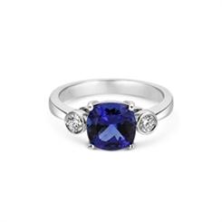 Tanzanite & Brilliant Cut Rub-Over Diamond Ring 2.60ct