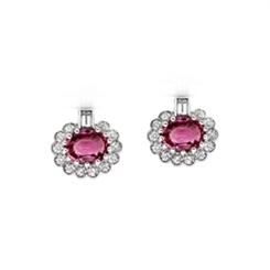 Pink Sapphire & Diamond Cluster Stud Earrings 2.44ct
