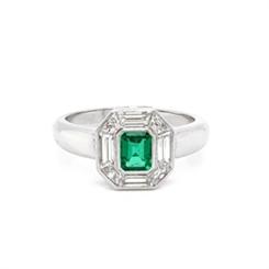 Emerald & Diamond Mosaic Cluster Ring 0.45ct