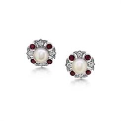 Pearl Ruby & Diamond Cluster Stud Earrings