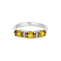 Yellow Sapphire & Diamond Half Eternity Ring 2.05ct
