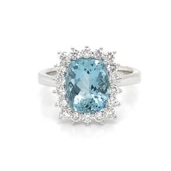Aqua Cushion Cut & Diamond Cluster Ring 2.95ct