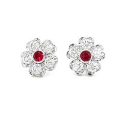 Floral Ruby & Diamond Cluster Stud Earrings 0.34ct