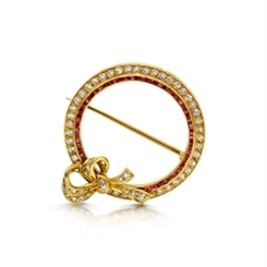Ruby & Diamond Circle Bow Brooch 0.94ct