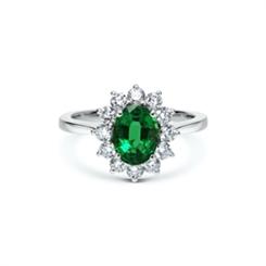 Emerald & Brilliant Cut Diamond Cluster Ring 1.27ct