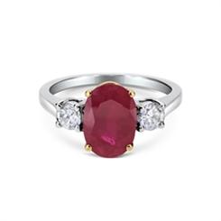 Ruby & Diamond Claw Set Three Stone Ring 3.64ct