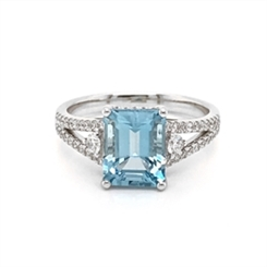 Aquamarine & Diamond Dress Ring Split Micro Set Shoulders 2.14ct