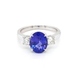Tanzanite & Diamond Three Stone Dress Ring 2.73ct