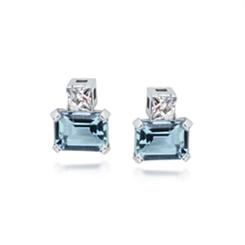 Aqua & French Cut Diamond Stud Earrings 2.80ct