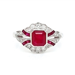 Deco Style Ruby & Diamond Engagement Ring 1.33ct