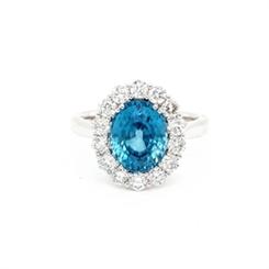 Blue Zircon & Diamond Cluster Ring 5.15ct