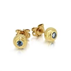 Aquamarine Round Rub-Over Set Stud Earrings 0.25ct