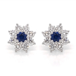 Sapphire Diamond Daisy Cluster Studs 0.37ct