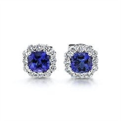 Tanzanite Cushion Cut & Diamond Cluster Earrings 2.20ct