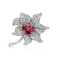 Edwardian Ruby & Diamond Floral Brooch