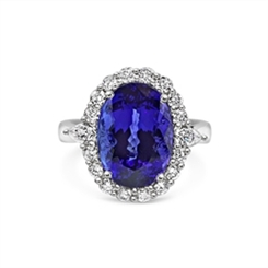 Oval Tanzanite Claw Set Cluster Dress Ring