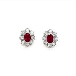 Ruby & Diamond Oval Cluster Stud Earrings 1.04ct
