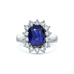 Sapphire & Diamond Claw Set Cluster Engagement Ring 4.95ct