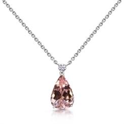Morganite Pear Shape & Diamond Drop Pendant