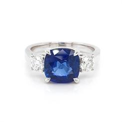 Sapphire Cushion Cut Claw Set Three Stone Ring 3.76ct