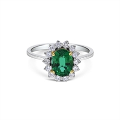 Emerald & Diamond Claw Set Dress Ring