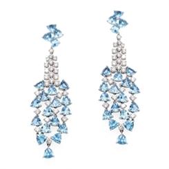 Aquamarine & Diamond Waterfall Drop Earrings 13.96ct