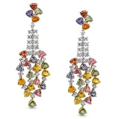 Colourful Sapphire & Diamond Cascading Drop Earrings 24.27ct