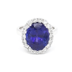Tanzanite Oval & Diamond Dress Ring 7.27ct
