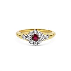 Ruby & Diamond Flower Cluster Ring