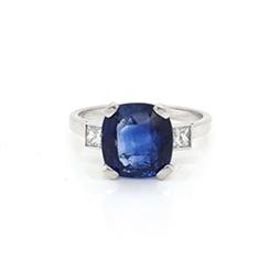 Cushion Cut Sapphire & Princess Cut Diamond Three Stone Ring 4.36ct