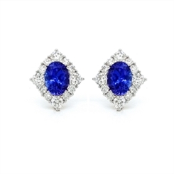 Tanzanite & Diamond Cluster Earrings 2.87ct