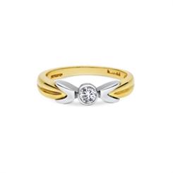 Rub-Over Set Diamond Two Tone Engagement Ring 0.29ct
